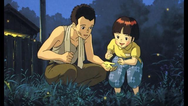 Ukázka z anime dvě osoby venku v noci